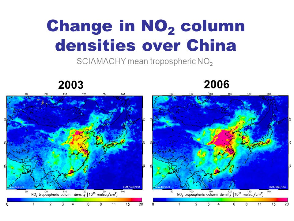 Change in NO2 column densities over China