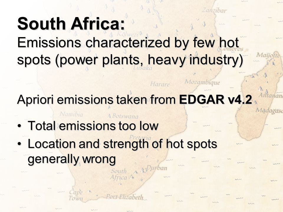 South Africa: Emissions characterized by few hot spots (power plants, heavy industry)