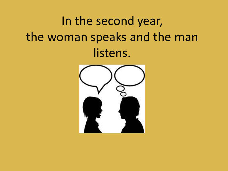 the woman speaks and the man listens.