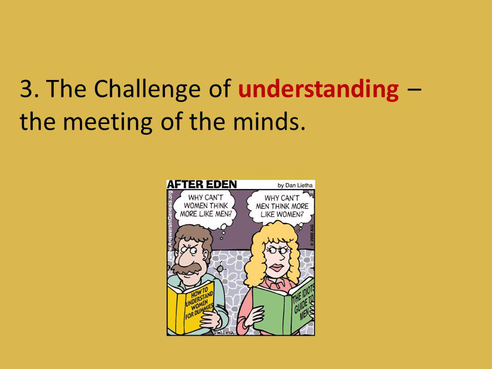 3. The Challenge of understanding – the meeting of the minds.