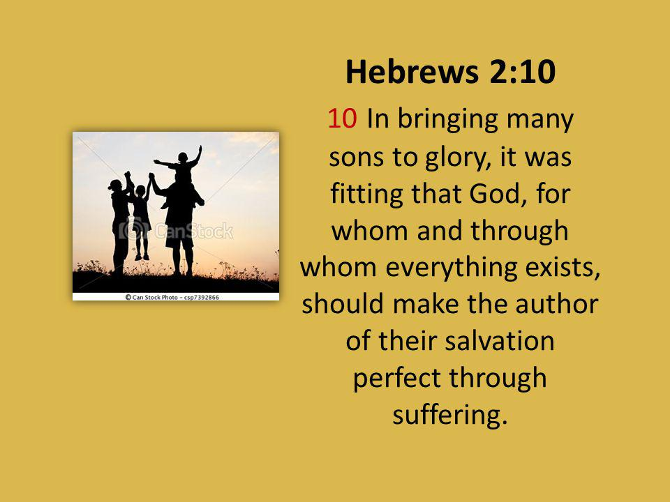Hebrews 2:10 10 In bringing many sons to glory, it was fitting that God, for whom and through whom everything exists, should make the author of their salvation perfect through suffering.