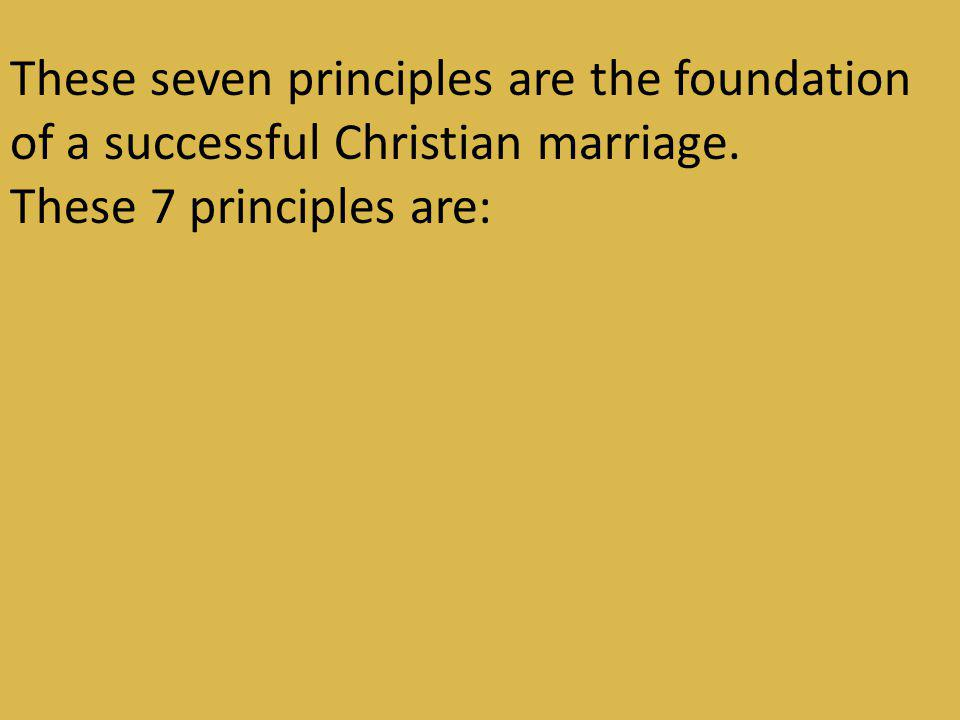 These seven principles are the foundation of a successful Christian marriage.