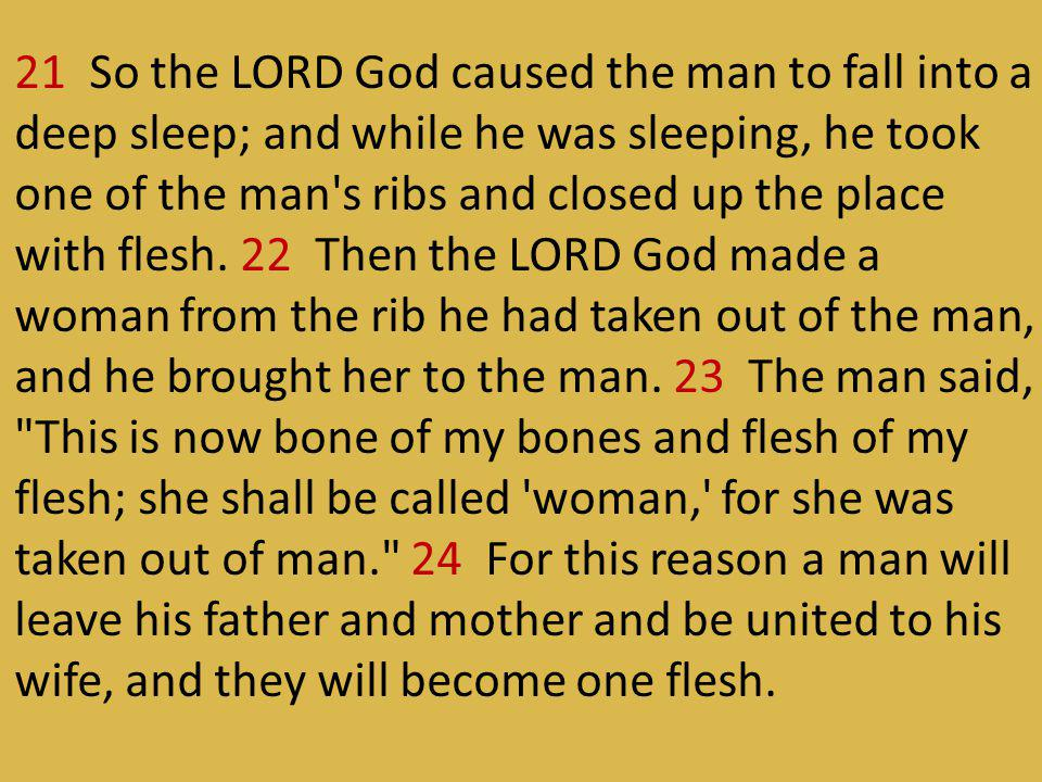 21 So the LORD God caused the man to fall into a deep sleep; and while he was sleeping, he took one of the man s ribs and closed up the place with flesh.