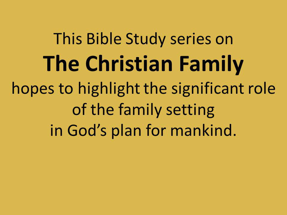 The Christian Family This Bible Study series on