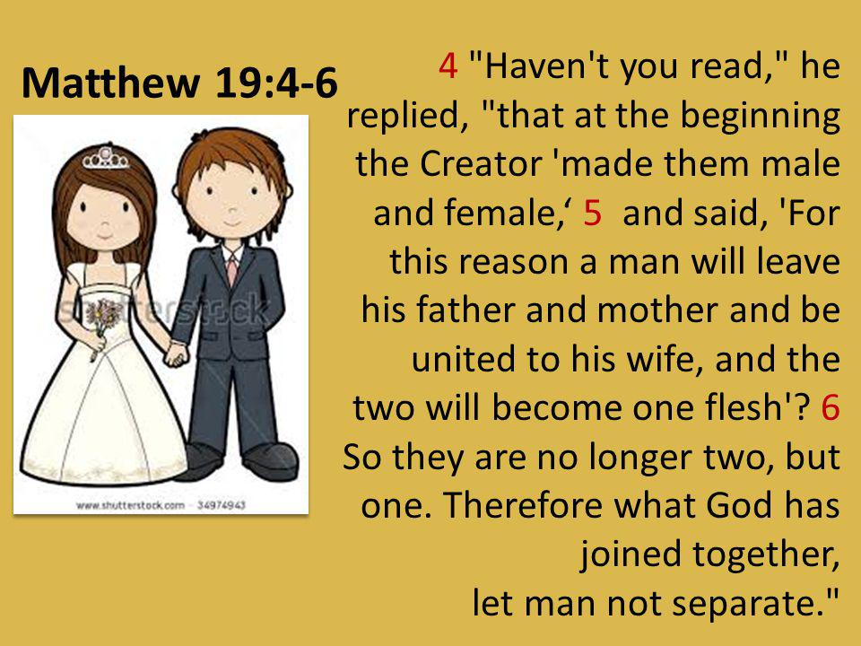 4 Haven t you read, he replied, that at the beginning the Creator made them male and female,' 5 and said, For this reason a man will leave his father and mother and be united to his wife, and the two will become one flesh 6 So they are no longer two, but one. Therefore what God has joined together,