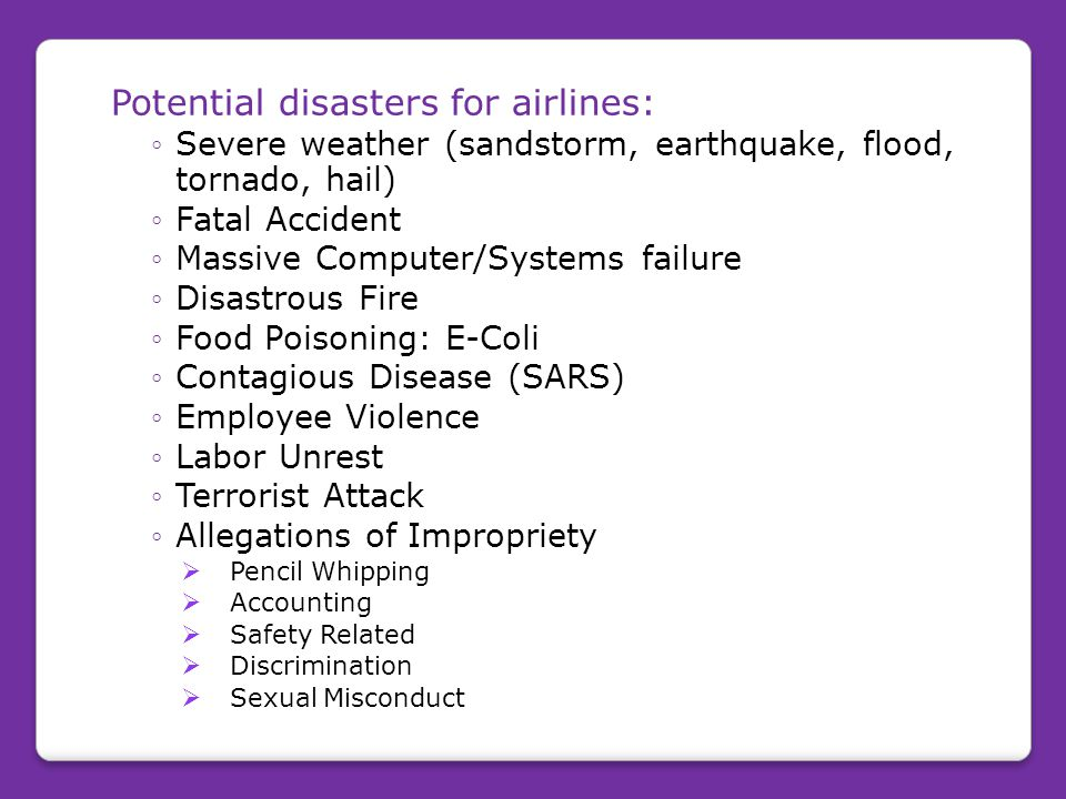 Potential disasters for airlines: