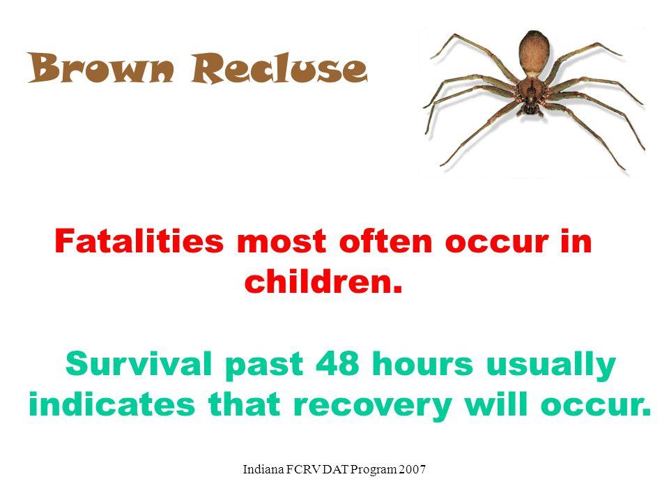 Brown Recluse Fatalities most often occur in children.