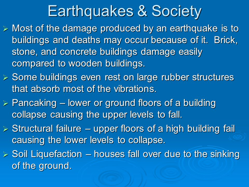 Earthquakes & Society