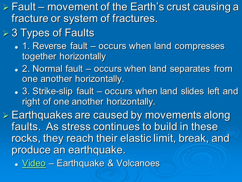 Fault – movement of the Earth's crust causing a fracture or system of fractures.