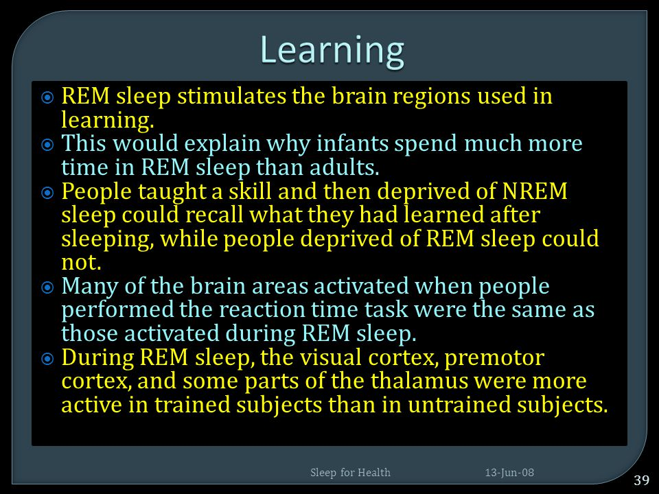 Learning REM sleep stimulates the brain regions used in learning.
