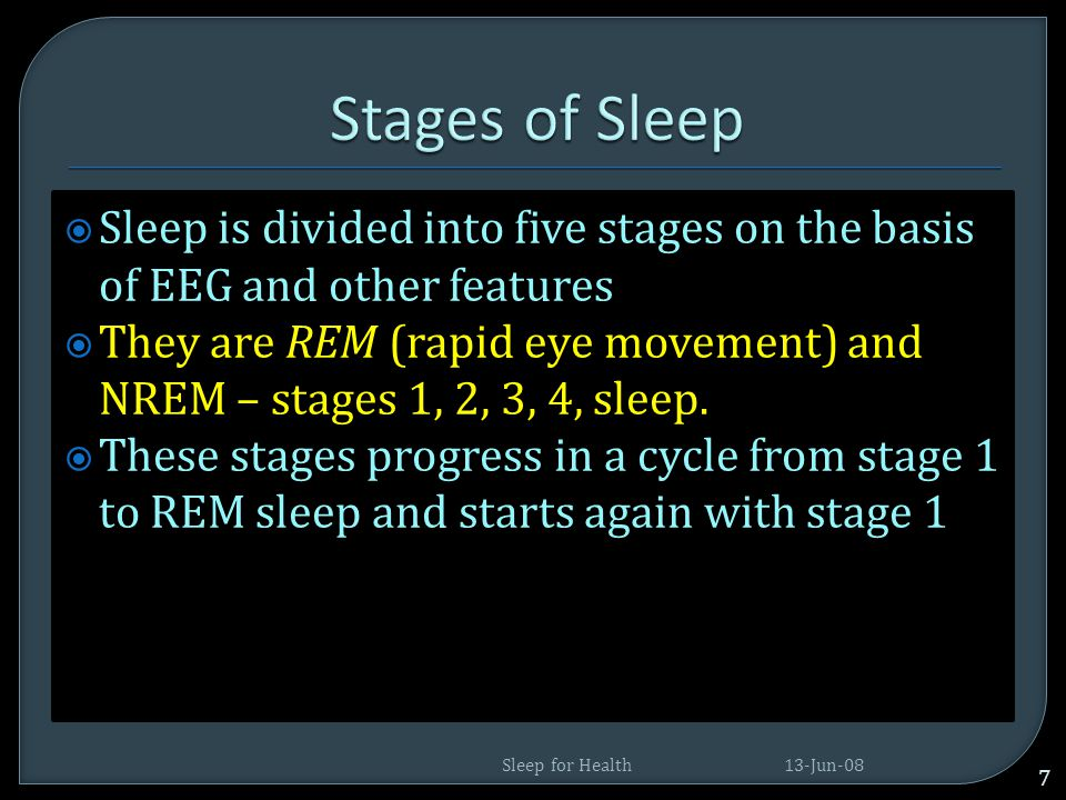 Stages of Sleep Sleep is divided into five stages on the basis of EEG and other features.
