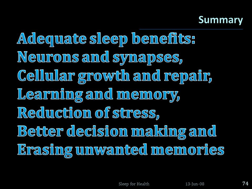 Adequate sleep benefits: Neurons and synapses,