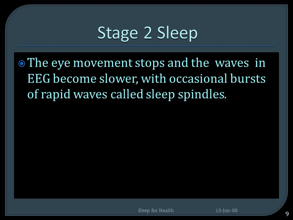Stage 2 Sleep The eye movement stops and the waves in EEG become slower, with occasional bursts of rapid waves called sleep spindles.