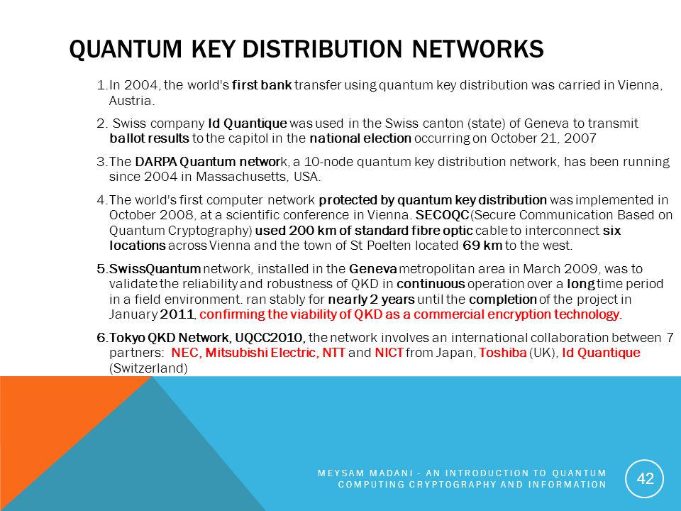 Quantum key Distribution Networks