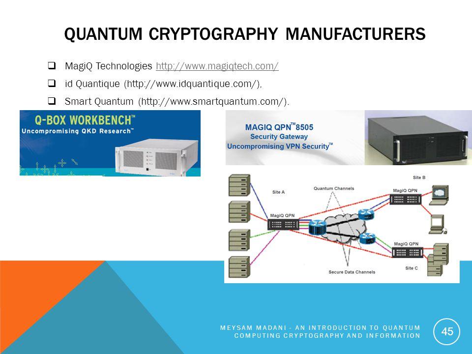 Quantum Cryptography manufacturers