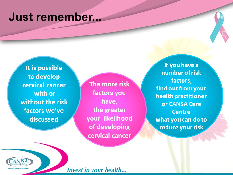 Just remember... It is possible to develop cervical cancer