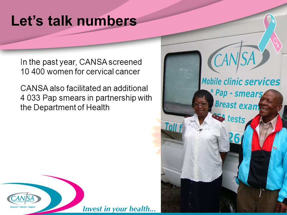 Let's talk numbers In the past year, CANSA screened 10 400 women for cervical cancer.