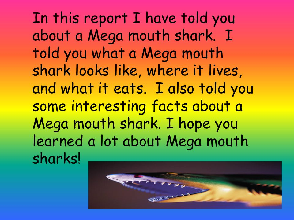 In this report I have told you about a Mega mouth shark