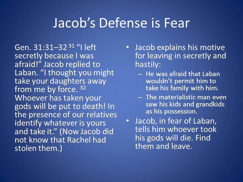 Jacob's Defense is Fear