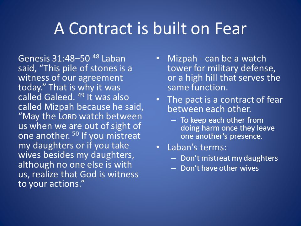 A Contract is built on Fear