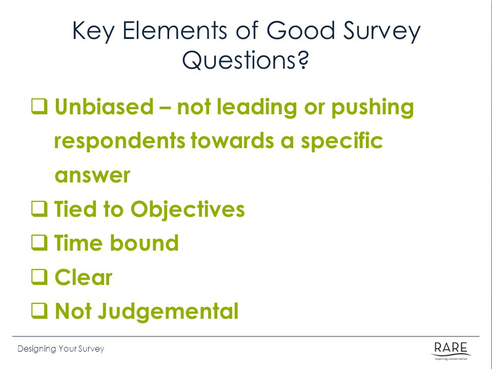 Key Elements of Good Survey Questions