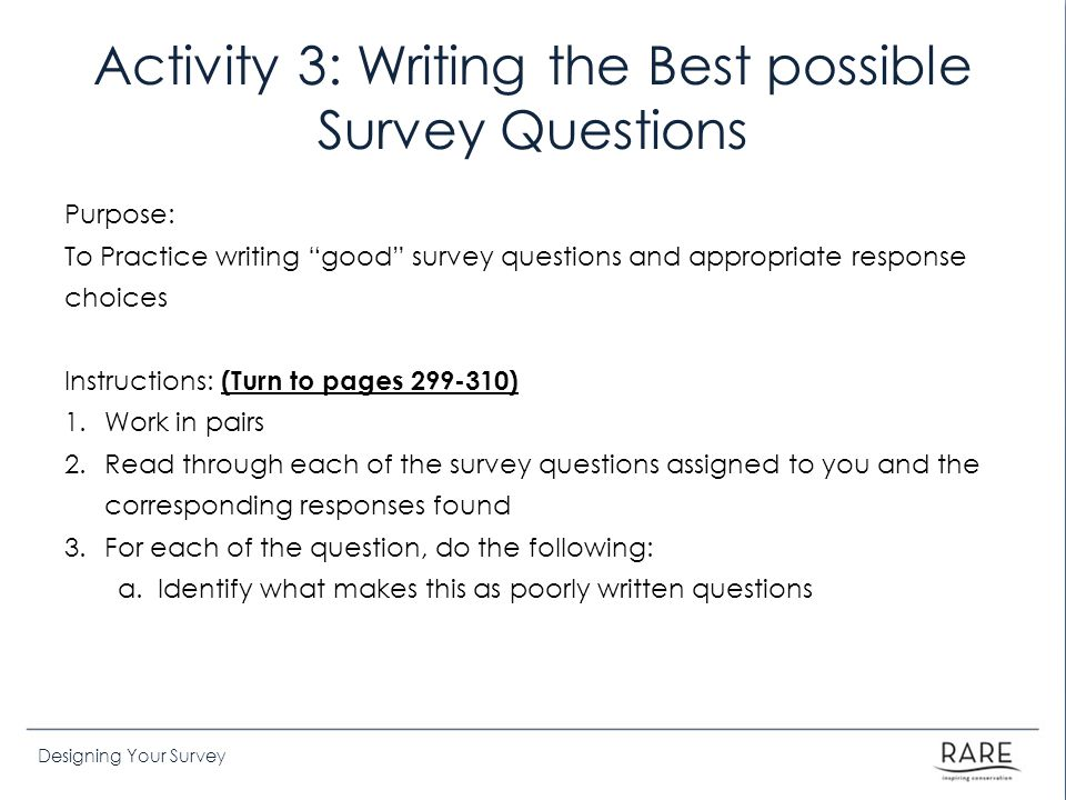 Activity 3: Writing the Best possible Survey Questions