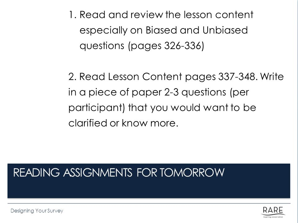 READING ASSIGNMENTS FOR TOMORROW