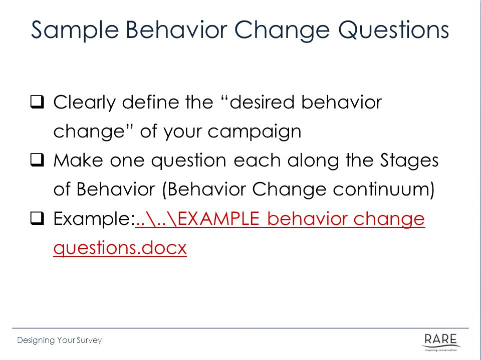 Sample Behavior Change Questions