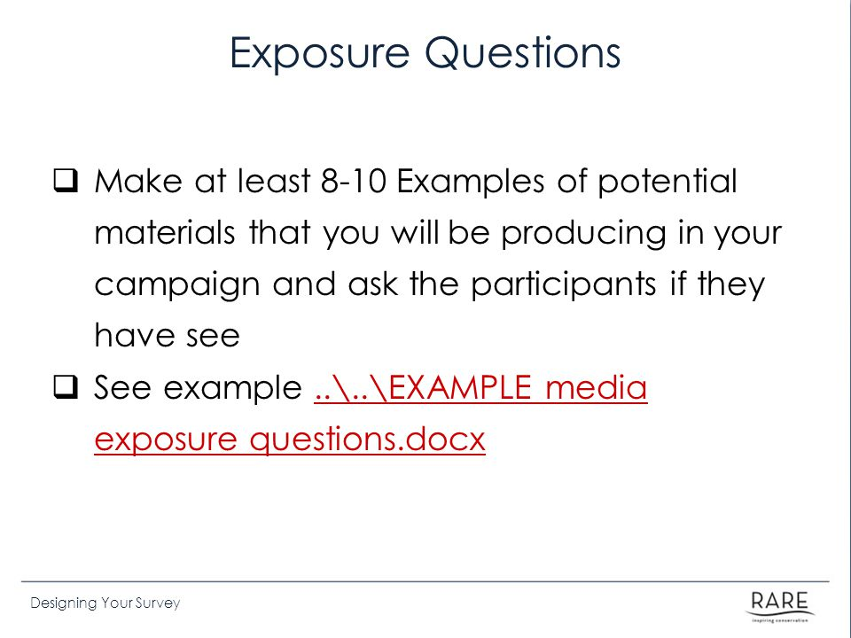 Exposure Questions