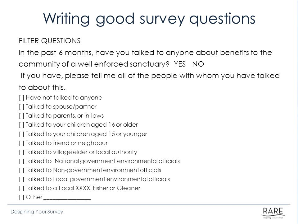 Writing good survey questions