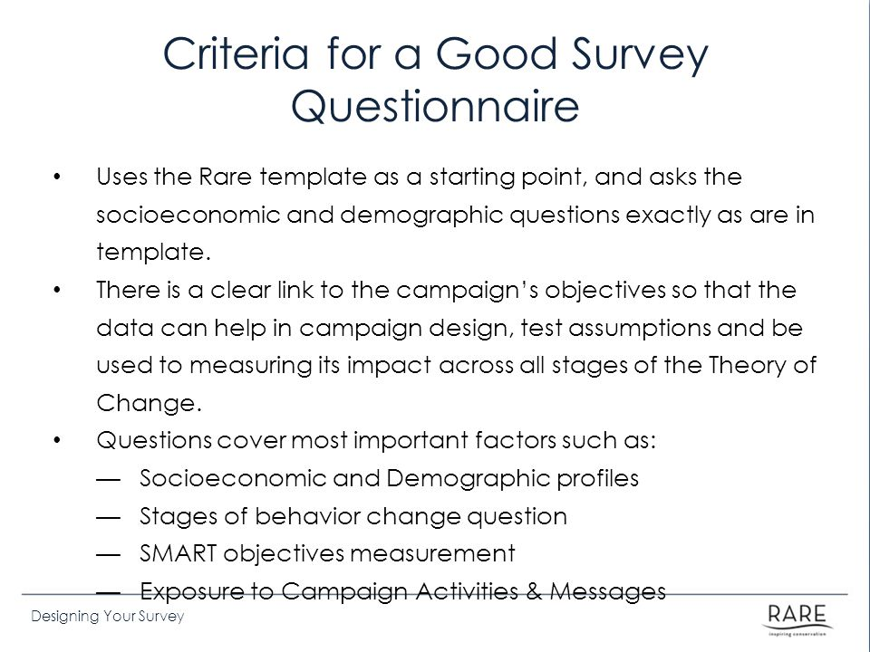 Criteria for a Good Survey Questionnaire