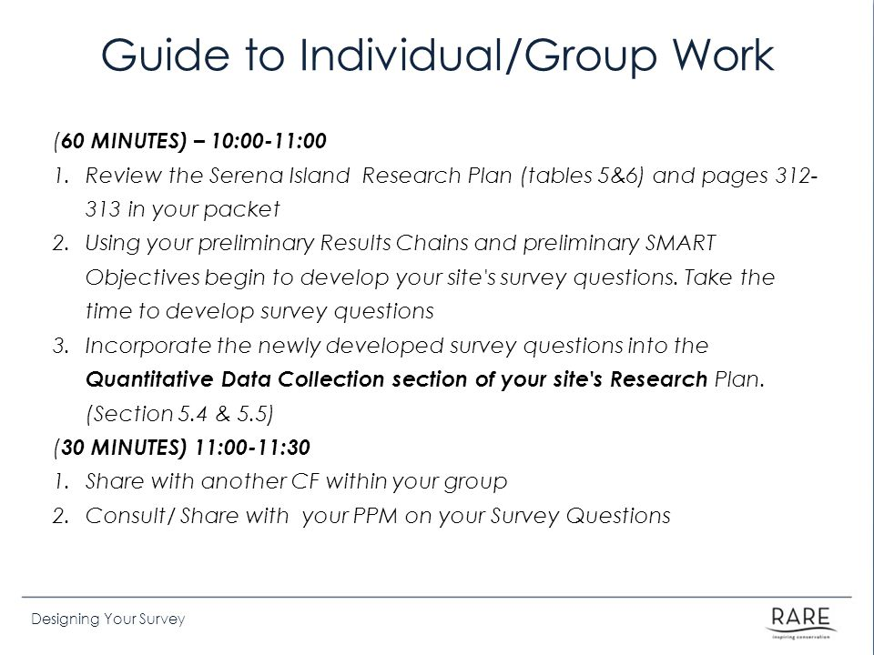 Guide to Individual/Group Work