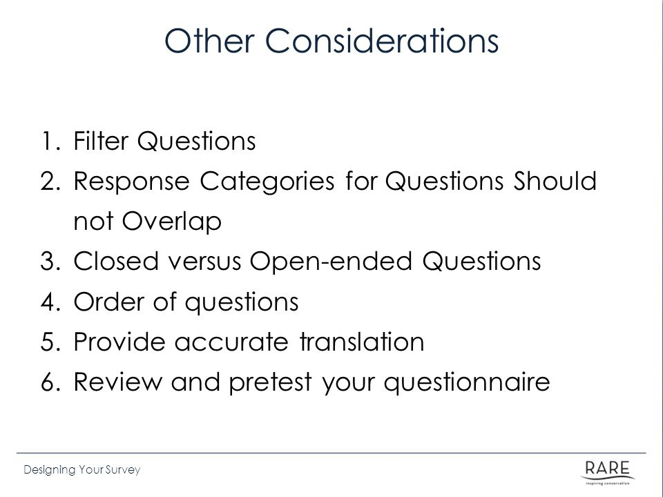 Other Considerations Filter Questions