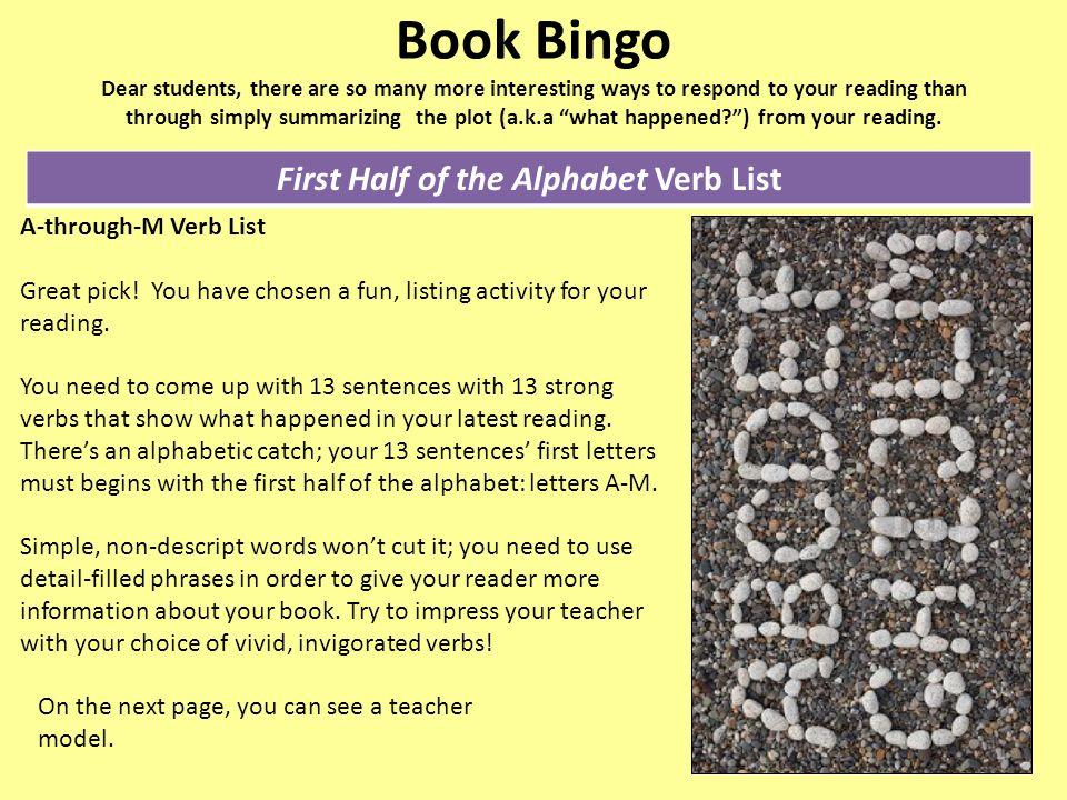 First Half of the Alphabet Verb List