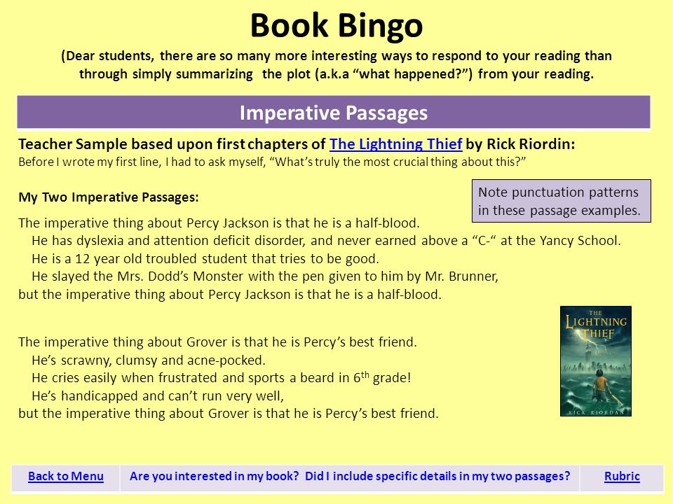 Book Bingo (Dear students, there are so many more interesting ways to respond to your reading than through simply summarizing the plot (a.k.a what happened ) from your reading.