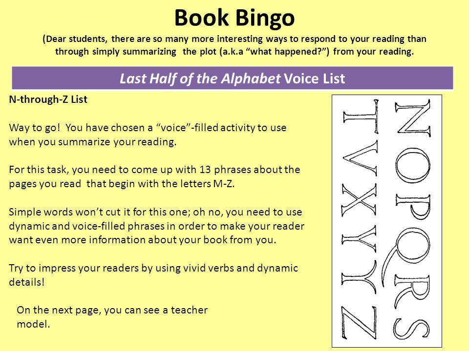 Last Half of the Alphabet Voice List