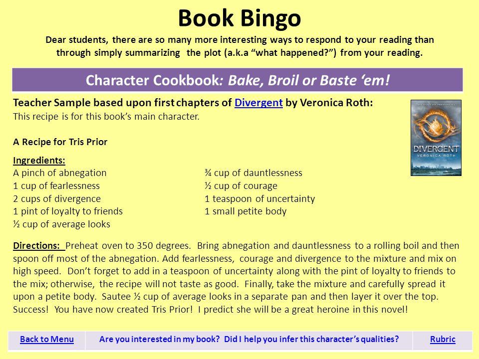 Character Cookbook: Bake, Broil or Baste 'em!