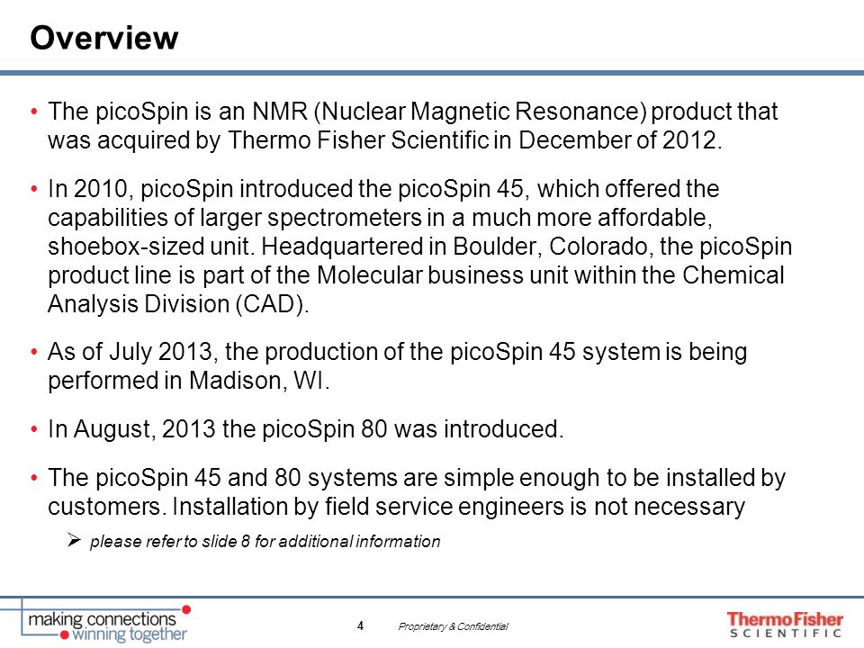 Overview The picoSpin is an NMR (Nuclear Magnetic Resonance) product that was acquired by Thermo Fisher Scientific in December of 2012.