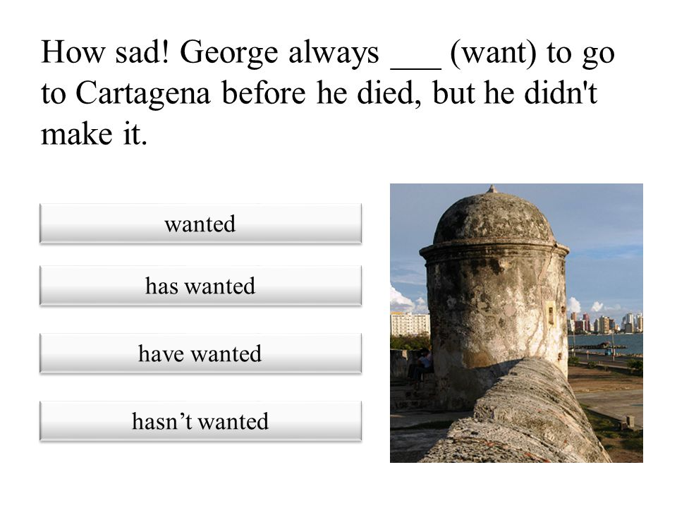 How sad! George always ___ (want) to go to Cartagena before he died, but he didn t make it.