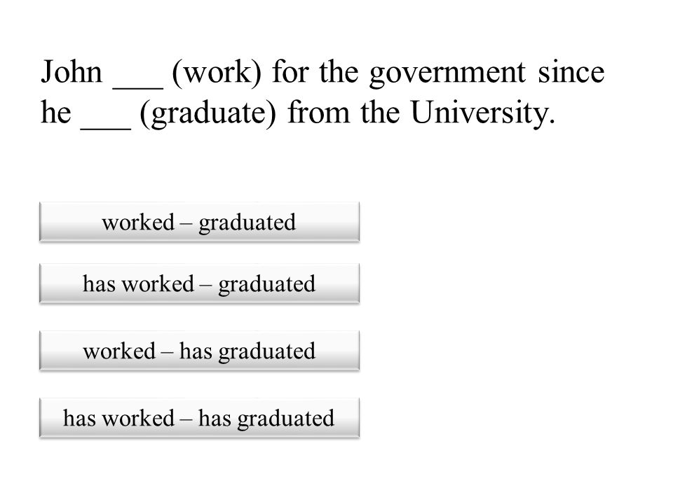 has worked – has graduated