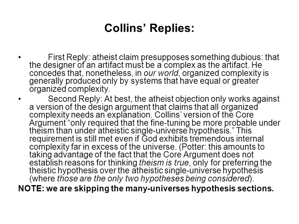 Collins' Replies: