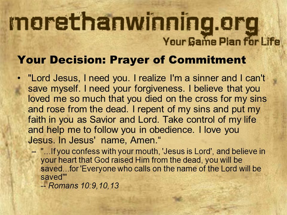 Your Decision: Prayer of Commitment