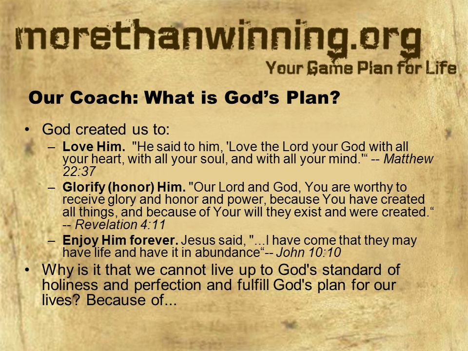 Our Coach: What is God's Plan