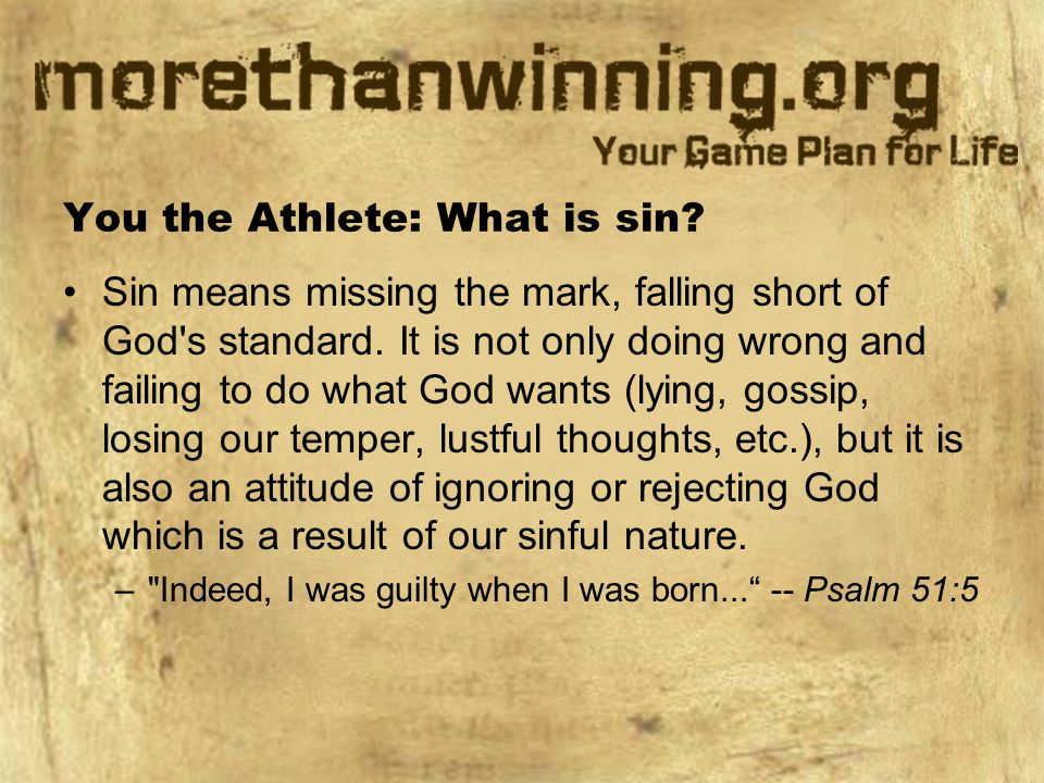 You the Athlete: What is sin