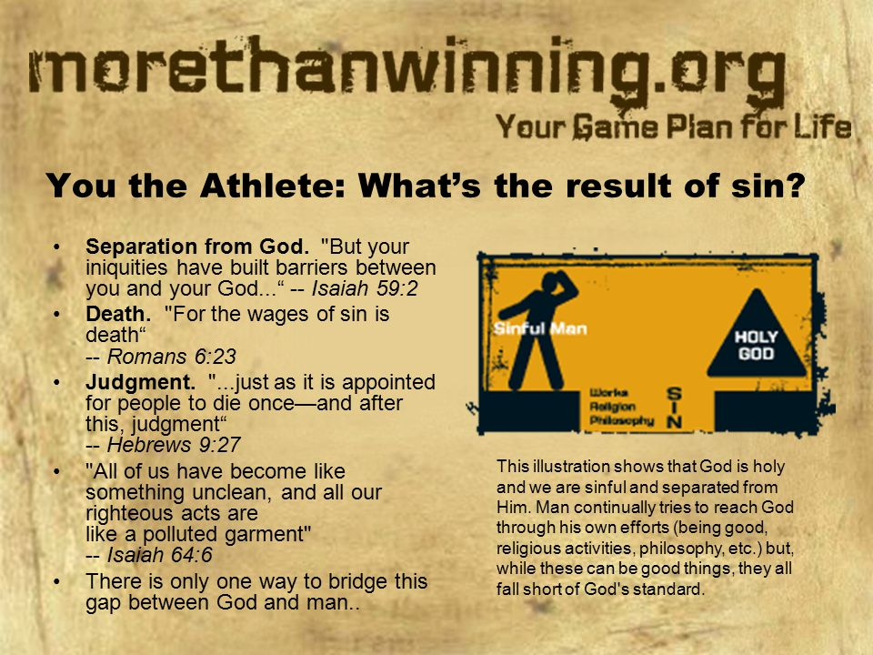 You the Athlete: What's the result of sin