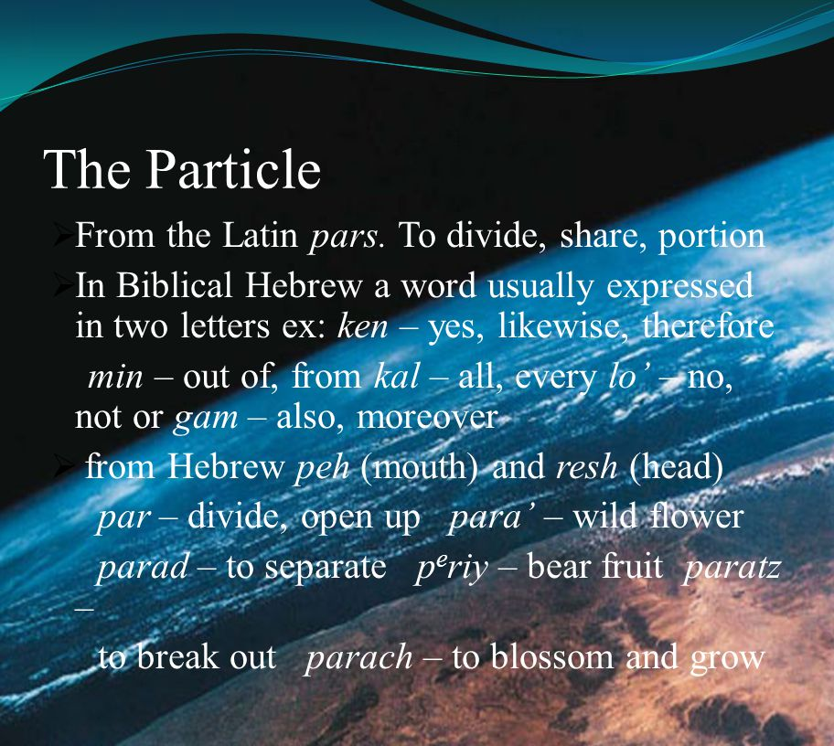 The Particle From the Latin pars. To divide, share, portion
