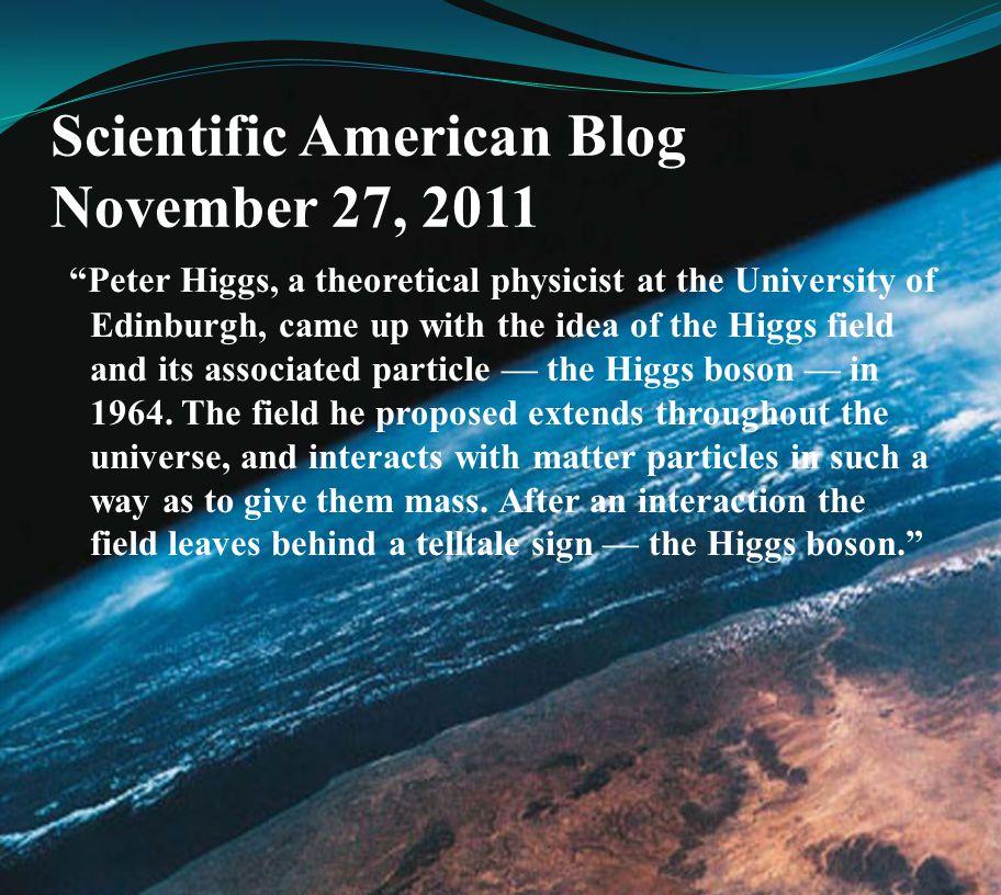 Scientific American Blog November 27, 2011