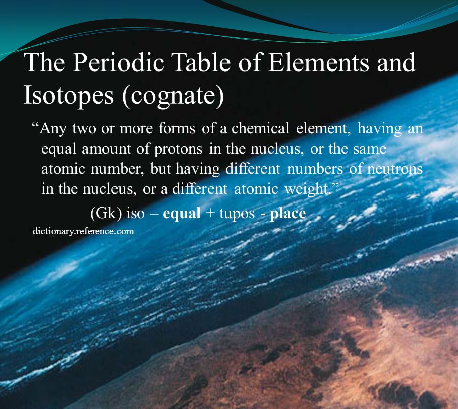 The Periodic Table of Elements and Isotopes (cognate)
