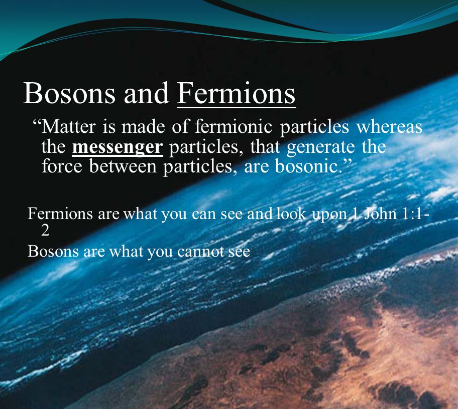 Bosons and Fermions Matter is made of fermionic particles whereas the messenger particles, that generate the force between particles, are bosonic.
