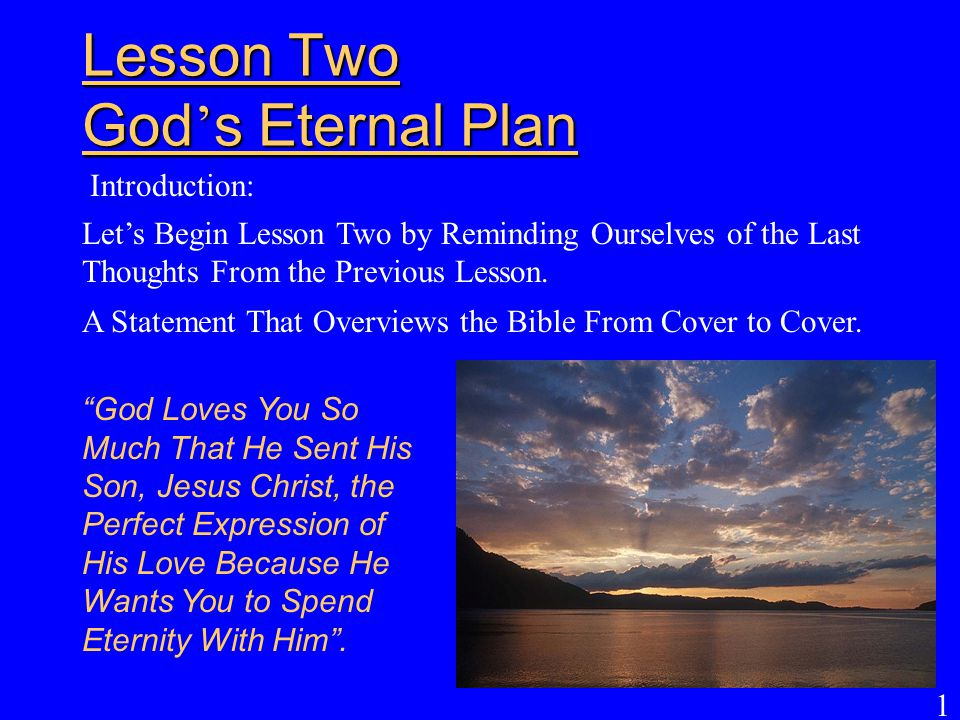 Lesson Two God's Eternal Plan